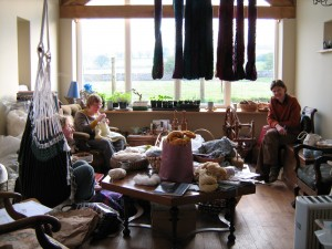knitting in the sun room