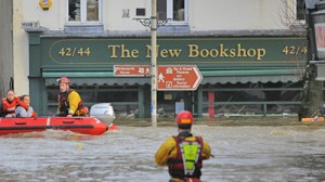 A flooded bookshop in Cockermouth: the town is home to many small businesses (c) skynews