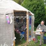 graham weaving outside the yurt